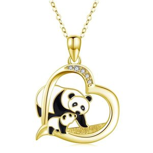Fashion Love Heart Panda Pendant Necklace For Women Female Gift Long Chain Animal Necklace Crystal Jewelry Collar Mujer D5Z085