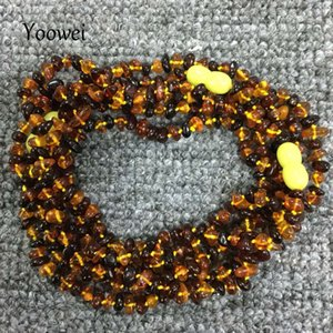 Yoowei Natural Amber Necklace for Gift Genuine Irregular Bead Baltic Amber Chip Layered Bracelet Jewelry Long Necklace Wholesale Z1126