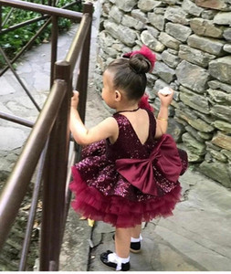New Arrival Burgundy Puffy Skirt Girl's Pageant Dresses with Sequins Flower Girls Dresses Big Bow Sash Girls Birthday Party Gowns
