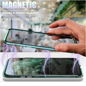 Metal Magnetic 360 Phone Case For Iphone 11 Pro Max Xr Xs Max 7 8 Plus Double-sided Tempered Glass Cover I jllwaq