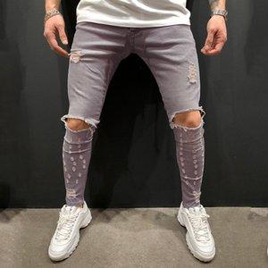 Pantalones de lápiz de color sólido Pantalones de lápiz STRETE GRIS DISTRESTRADO DE MODA CASUAL ROPA DE ROPA DE ROPA DE HOMBRE MENS DESIGNER JEANS
