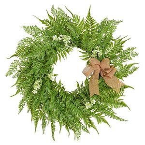 19.6 inch Wreath for Front Door with Knotted Bow, Handcrafted Wicker Rattan Loop Frame - Faux Home Decorative Display - Rustic,