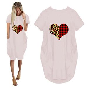 Valentines Day Womens Designer Dresses Fashion Leopard Plaid Panelled Love Print Womens Plus Size Dresses Casual 5XL Females Dresses