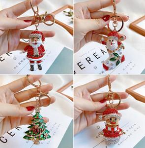 Natal unisex bonito strass cartoon boneco de neve dos desenhos animados Chaveiro Chaveiro Chaveiro Suporte Pingente Saco Santa Claus Bolsa Chaveiro