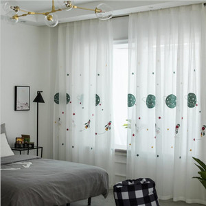 Sheer Curtains Cartoon curtain window screen children's room boy's room curtain multicolor embroidered window screen