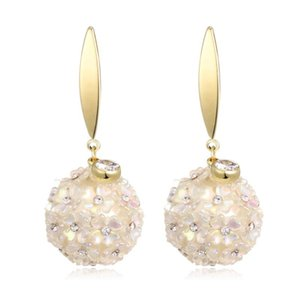 Zircon Pearl Flower Ball Pendant Earrings for Women New Copper Drop Earring Fashion Jewelry pendientes mujer moda 2020