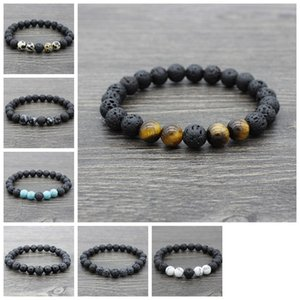 Lava Stone Beads Bracelets Natural Black Elastic Bracelet Volcanic Rock Beaded Hand Strings Yoga 7 Chakra men Bracelet