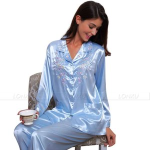Womens Silk Satin Pajamas Set Pyjamas PJS Set Sleepwear Set Nightwear Loungewear XS~ 3XL Plus Size__Gifts 201113