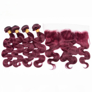Virgin Brazilian Burgundy Red Human Hair Bundle Deals with Full Frontal Body Wave #99J Wine Red Hair Wefts with 13x4 Lace Frontal Closure