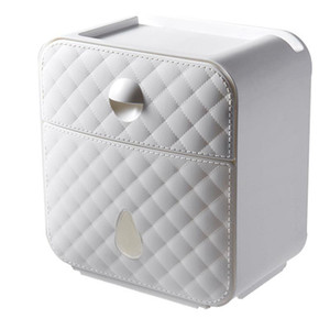 Wall Mounted Toilet Roll Holder Tissue Storage Box Paper Towel Dispenser with Shelf and Drawer for Bathroom