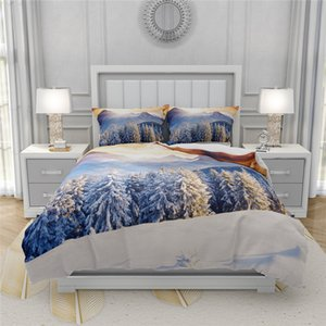 Snow Mountain Duvet Cover Set Queen King Size Natural Scenery Single Double Bed Set 3D Bed Linen Simple Children Bedding Set Kid Z1126