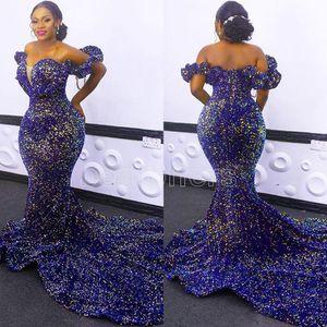 Afrikanische Paillettenabendkleider plus Größe aus Schulter Mermaid Prom Kleider 2020 Rote Teppich-Robe de Soiree 2021 Neue