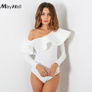 Mayhall 2020 Yaz Yeni Ruffles Slash Boyun Bodysuit Kadınlar Uzun Kollu Bir Omuz Tulum Kadınlar Tulum 3 Renkler MH120