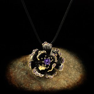 CHARLINLIOL Exaggerated Charms Big Flower Pedant Necklace for Women 925 Sterling Silver Vintage Amethyst Choker Custom Jewelry
