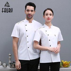 Chemise Chemise Été Summer Sleeve Tops Kitchen Restaurant Sushi Uniforme Hommes Mesdames Veste de Chef Barbershop Travaux de travail