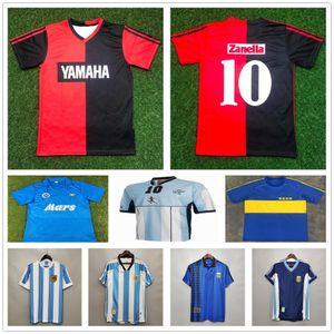 1993 Newells # 10 Maradona Soccer Jerseys القديم الأولاد الرجعية خمر كلاسيكي كرة القدم قميص الكبار الاطفال الأرجنتين نابولي ميلوت دي القدم
