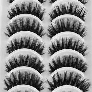 10 Pairs 3D Mink Hair False Eyelashes Full Strips Handmade Wispy Lashes Crisscross Wispy Eye Makeup Cruelty-free