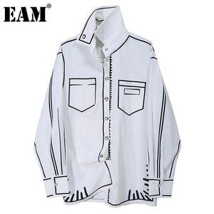 [EAM] Frauen Weiß Muster Gedruckt Große Größe Bluse Neue Revers Langarm Lose Fit Hemd Mode Flut Frühling Herbst 2020 1DD0074