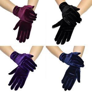 Women Short Velvet Full Finger Gloves Shiny Solid Color Gown Opera Wedding Banquet Dress Party Wrist Length Mittens
