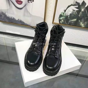 Woman Paris France New Release Bal Side Zip Boots Main Black Genuine Leather Chain Trim Military Metal Hardware Front Lace Up Shoes Boots