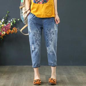 Plus Size 2020 Summer Jeans Harem Pants Women Casual Loose Vintage Embroidery Denim Pants Capris High Waist Jeans Vaqueros