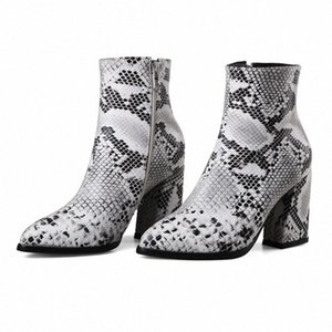 Hot Sale-Womens Snake Print Shoes Pointed High Heeled Ankle Large Size 43 Booties Winter Autumn Western Cowgirl Boots Footwear