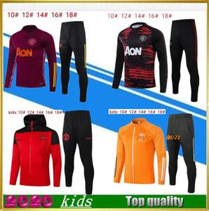 2020-21Top Qualità Qualità Suit per bambini Giacca da calcio con cappuccio bambino con cappuccio sportivo Piede da jogging 20 21 Kids Soccer Tracksuit