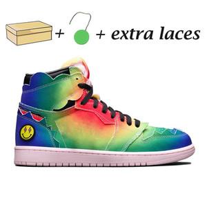 1 J Balvin 1s yüksek og erkek basketbol ayakkabıları 1 Tie Çok Renkli Gökkuşağı eğitmenleri spor ayakkabı boyutu 40-45 mens boya jumpman