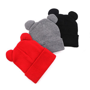 Charm Wood Cute Cat Ears Beanie Warm Solid Color Knitted Hat Autumn Winter Skull Cap for Man Woman Boy Girl Unisex