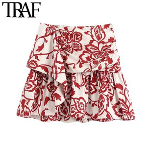 TRAF Women Chic Fashion Printed Ruffled Mini Skirt Vintage High Waist Size Zipper Female Skirts Casual Faldas Mujer Z1122