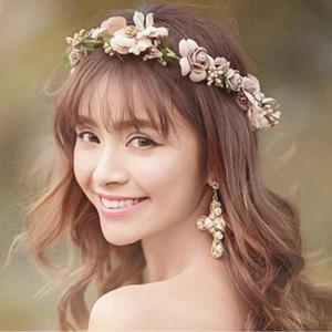 Hot Sale Fashion Wedding Hair Accessories Adjustable Champagne Wreath Tiaras Flower Headband Women Crown Bridal Hairbands