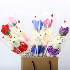 Одиночный медведь мыло цветок имитация медвежонка Искусство искусственный цветок роза одна роза для дня Святого Валентина вечеринка одиночный букет подарок Eef3617
