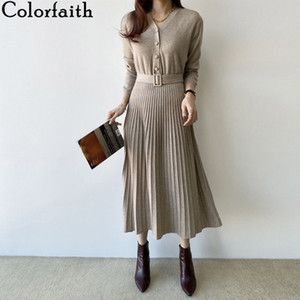 Colorfaith New 2019 Spring Women Dress Long Casual Korean Style Single Breasted Pleated V-neck Lace Up knitted Dress DR7248 A1111
