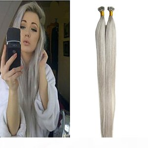 Silver Grey Hair Extensions Flat Tip Human Hair Extensions 1.0g s Straight Loop Micro Ring Human Hair Extensions Micro Bead 100g pack