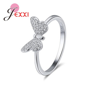 Hot Selling Genuine 925 Sterling Silver Shinning Bowknot Round Finger Rings For Women Engagement Wedding Statement Jewelry