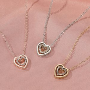 Double Heart Necklace Full Diamond Hollow Crystal Double Love Heart Pendant Clavicle Chain Fashion Jewelry Women Valentine's Day Gift