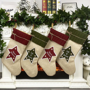 Bags Christmas Tree Ornament Xmas Kdis Gift Linen Hosiery Candy Party Hanging Socks Decorations Bag DHD1504