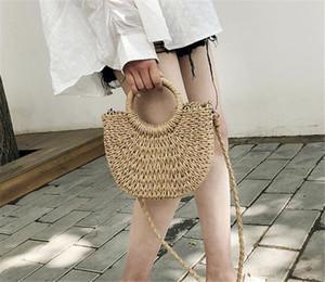Handmade Half-Round Rattan Woven Straw Bag Summer Women Messenger Crossbody Bags Girls Small Beach Handbag 2020