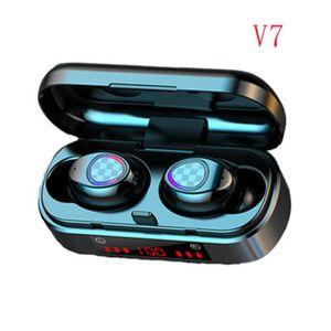 NEW TWS Bluetooth Earphone V7 Wireless Bluetooth 5.0 Headphone Touch Headset Sport Waterproof 3D Stereo Sound Sport LED Earbuds fashion
