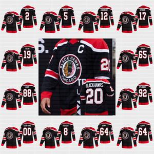 남성 여성 청소년 시카고 Blackhawks 2021 Reverse Retro Patrick Kane Lehner Jonathan Toews 65 Shaw 77 Kirby Dach Duncan Keith Debrincat Jersey