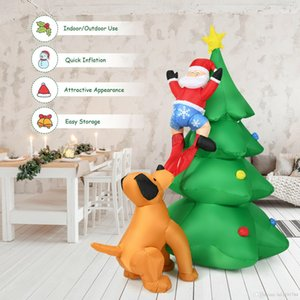 6.5FT Inflatable Christmas Tree Santa Decor w LED Lights Outdoor Yard Decoration