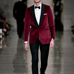Red velvet Tailcoat tuxedo jacket men suit Groom Tuxedos Groomsmen dress wear to wedding Bridegroom Prom Suits(Jacket+Pants+Tie)