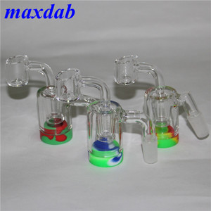 14mm 18mm Glass Ash Catcher Silicone Container Reclaimer With 2mm Round Bottom Quartz Banger Glass Ashcatchers For Glass Water Bongs Pipes