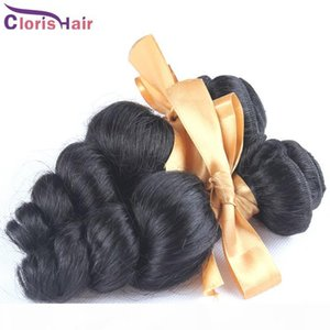 Discount Mix 2 Bundles Loose Curly Wave Brazilian Virgin Hair Weave Cheap Brazillian Loose Wavy Human Hair Extensions 1b Full Cuticle