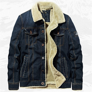 2020 Winter Warm Warm Military Chaleco Denim Coat Abrigo 6XL Estilo europeo Americano Velvet Cálido OutCoats Army Man Jeans Abrigos A875 Y1112