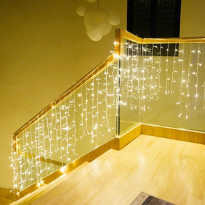 6m x 1.5m 288 Lampadine Icicle LED Garland Tenda Luci natalizie Decorazioni di Natale Matrimonio Casa Soggiorno Capodanno Party Party Holiday Lighting AHE3628