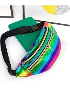 Waist Bag For Women Colorful Laser Belt Bags Fashion Adjustable Chest Handbag Unisex Travel Waist Bags Portable Belly Phone Pack