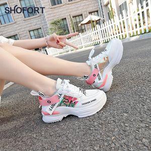 Shofort Damen Schuhe Mode Lässig Wilde Turnschuhe Trainer Chaussure Weibliche dicke Plattformschuhe Bequem für Frühling Herbst LJ200824