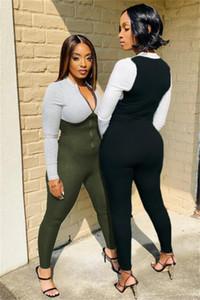 Tmustobe Jumpsuit Women Skinny Rompers Panelled One piece Bodycon Zipper Jumpsuit Club Party Casual Female Streetwear Womens
