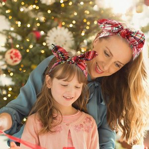 Bowknot Hair band Christmas Grid Headband Merry Christmas Decorations For Home Christmas Ornament Happy New Year 2021 Xmas Gift